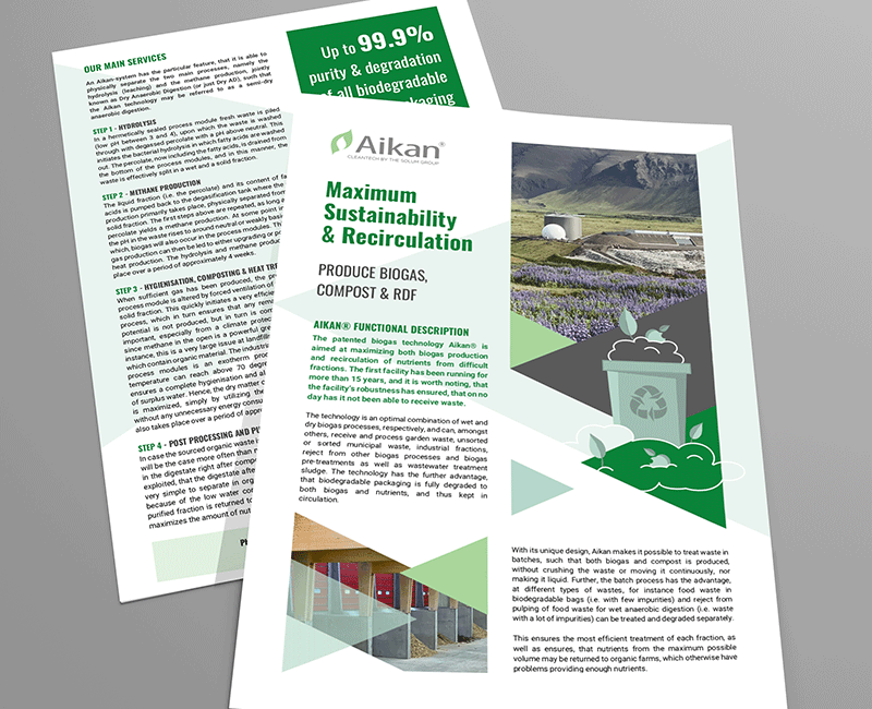 Aikan. 2-pager promotional material designed by visually thinking